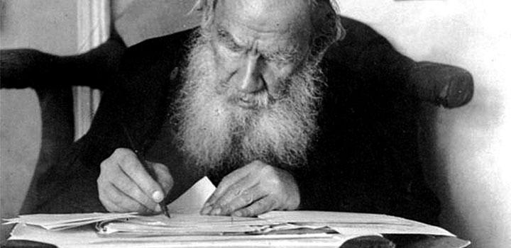 Л.Н. Толстой проверяет работы участников конкурса