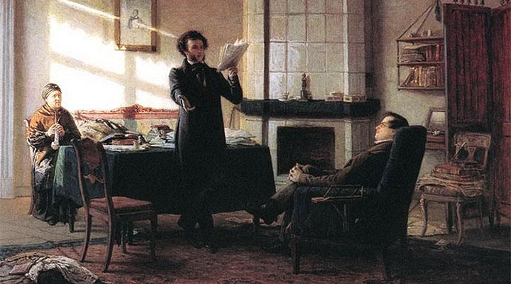 А.С. Пушкин читает письмо из «Большого Приключения». Художник Н.Н. Ге.