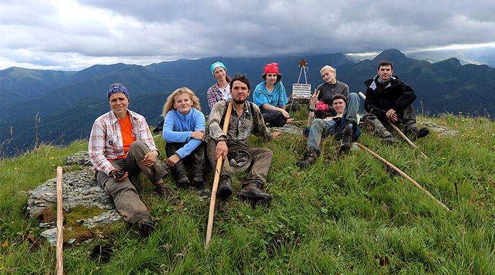 Первопроходцы на вершине горы Хацавита.