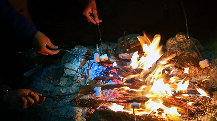 Жаренные зефирки – деликатес туристской кухни.